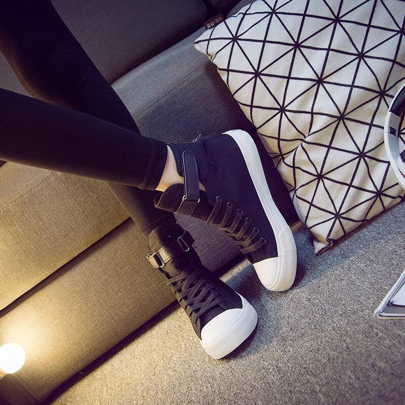 Con 2017 Planos De Zapatos Pure Black Natural Ayuda Suelas Cordones Alta Goma white Chaussure Casuales Antideslizante Superior black Mujer Moda Lona SzrBSwWqO