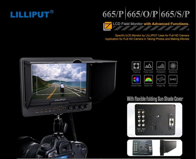 LILLIPUT 665/P 7 inch camera monitor, HDMI field monitor with peaking, false color, exposure