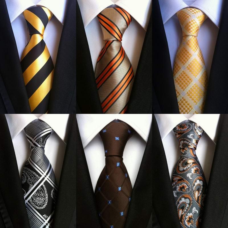 SKng High Quality Stripes Gold Black 100% Silk Necktie New Fashion Jacquard Woven Classic Ties Men Gravata Corbatas Ties