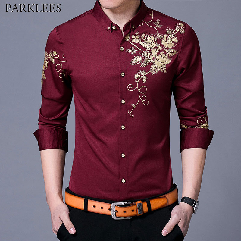 Brand Wine Red Mens Dress Shirts 2018 Fashion Golden Rose Flower Print Button Down Shirt Men Slim Fit Long Sleeve Chemise Homme