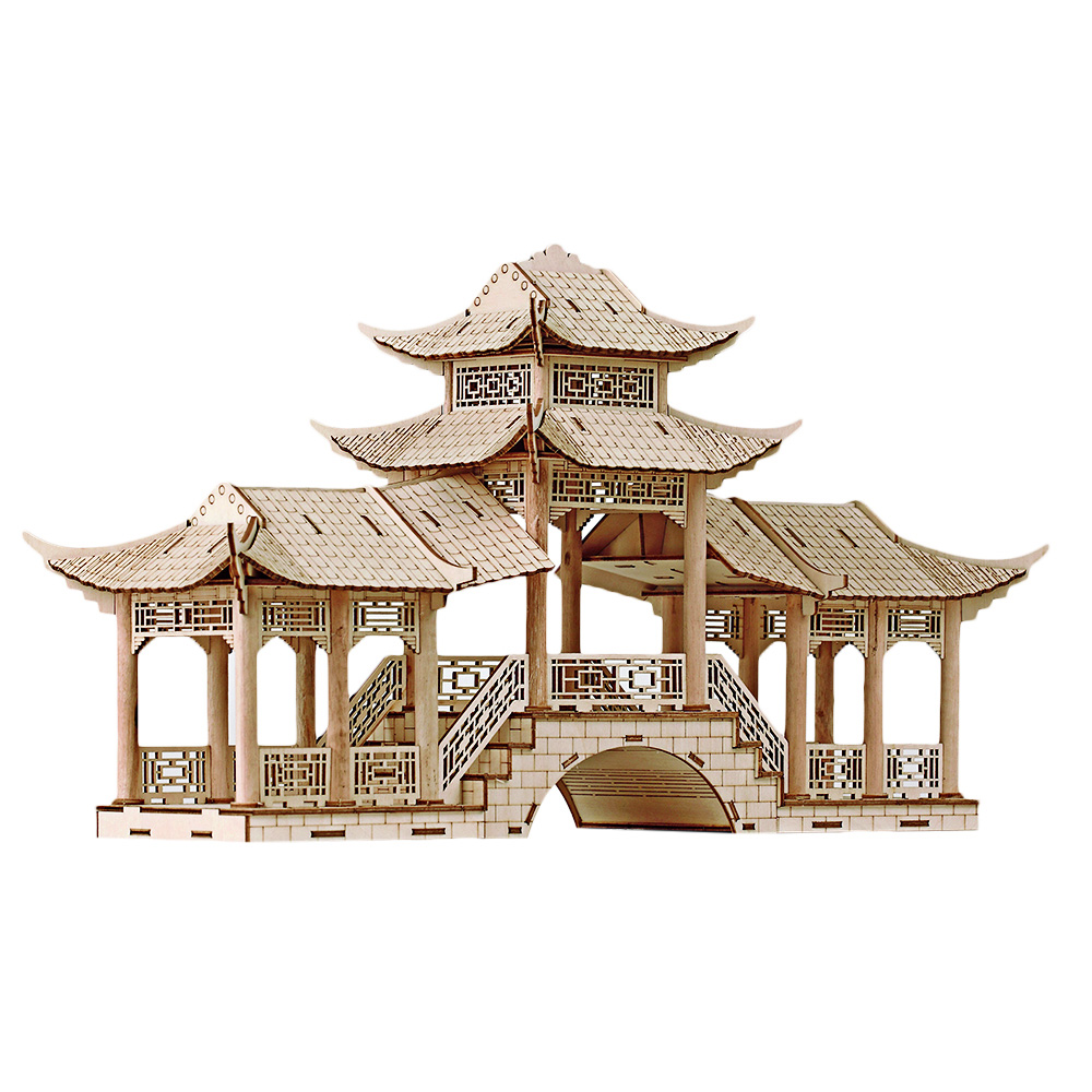 3D Ancient Architectural Model Simulation Puzzle Gallery Bridge With Colorful Light Wooden Puzzle DIY Gift For Children Friends