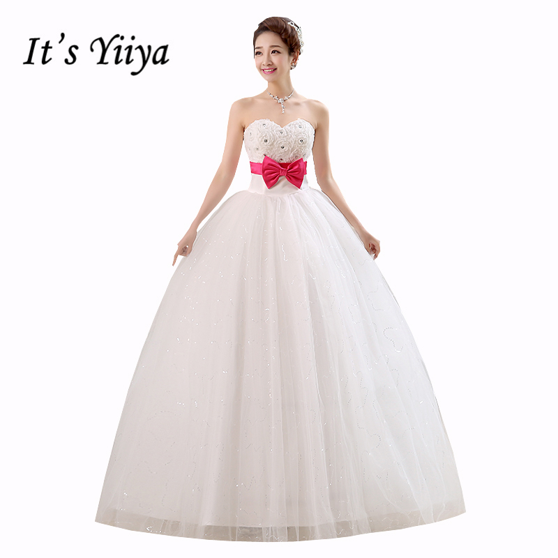 Plus size Tulle Rose Hot Pink Bow Waist Wedding Dresses White Floor Length Bride Frocks Free Shipping Vestidos De Novia HS133