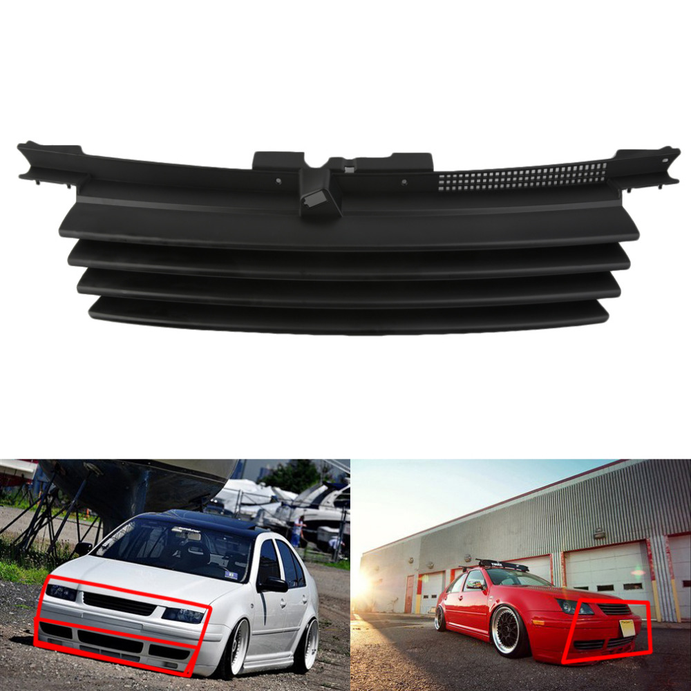 1pc euro front hood badgeless grill w notch filler for vw jetta bora mk4 99