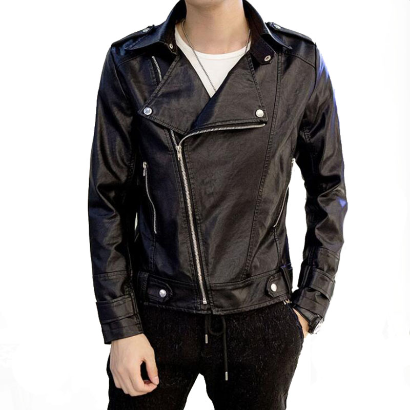 99New Motorcycle Leather Cuir Leather in Faux De Slim Homme