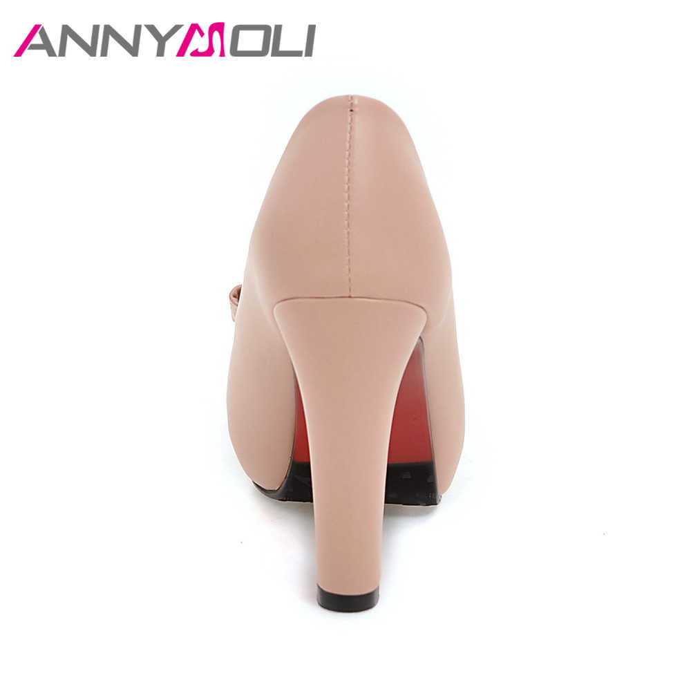 ANNYMOLI Kadın Pompaları Yüksek Topuklu Platformu Açık Toe Yay Kadın parti ayakkabıları Peep Toe Yüksek Topuklu lüks Kadın Ayakkabı Boyutu 43 33 bahar