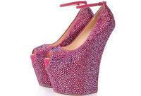 Женские туфли лодочки модные пикантные туфли на высоком каблуке красные туфли со стразами с открытым носком дамские туфли лодочки Пряжка р