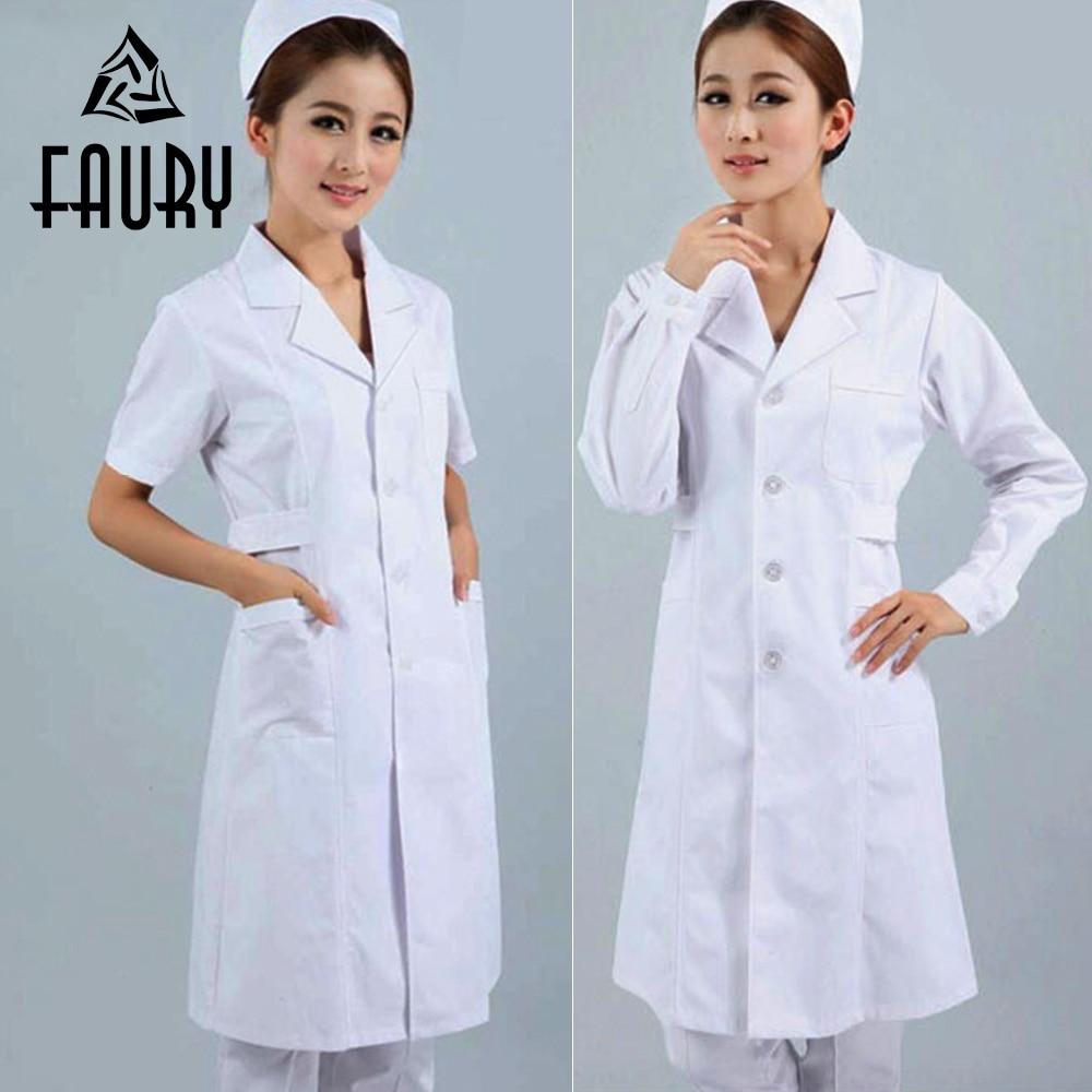 Women Short Sleeve & Long Sleeve Long Doctor Work Coats Hospital Medical Manicurist Dental Scrubs Nurse Beauty Salon Uniform