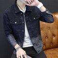 Карманы мужчины джинсовая куртка brand clothing 100% хлопок повседневная мужская джинсовая куртка Омывается Черным пальто мужской Осень Весна MQ518