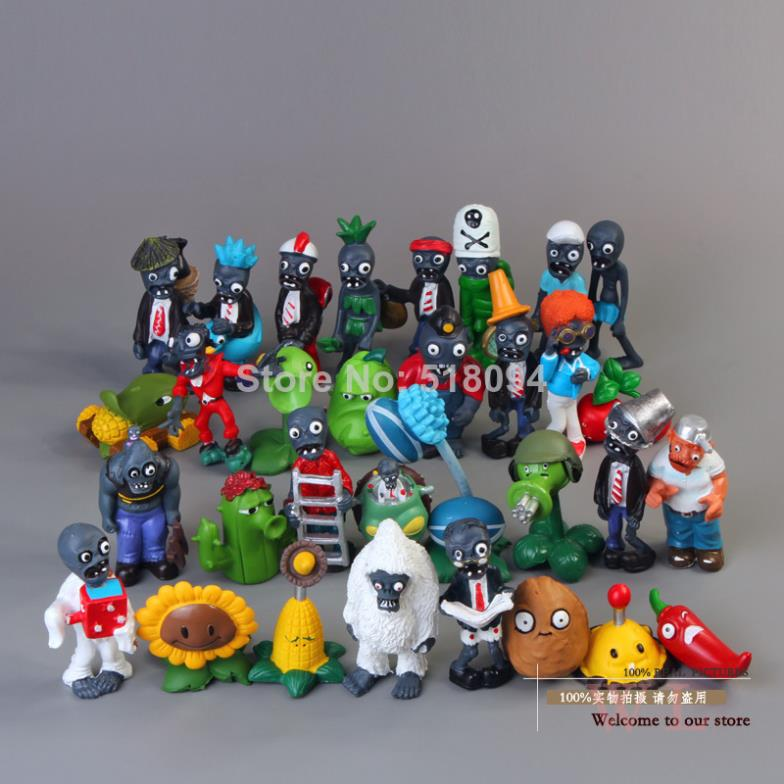 32pcs/set Mobile Game Plants vs. Zombies PVC Action Figure PVZ Figures Model Toys Kids' Dolls Free Shipping free shipping hello kitty toys kitty cat fruit style pvc action figure model toys dolls 12pcs set christmas gifts ktfg010
