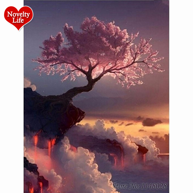 DIY Sakura gyémánt hímzés cseresznye a vulkánon kép strasszos hímzés kristály gyémánt mozaik 5d gyémánt festékkészlet