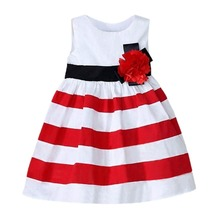 Kids Baby Girl Princess Dress Stripes Flower girls