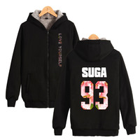 Bangtan Boys BTS Love Yourself Thick Hoodies Sweatshirts With Zipper Winter Warm Thickened Hoodies Zip Up