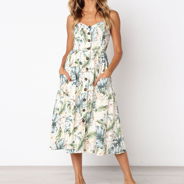 Women Floral Printing Dress Buttons Pockets Front Beach Dresses Vintage  Boho Summer Dresses Vestiti Donna  VE 00c6cdd869d