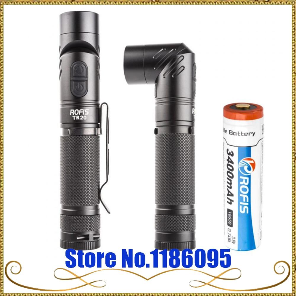 ROFIS TR20 1100LM CREE XP-L HI V3 LED 90 Degree Head Rotation Rechargeable Light LED Flashlight Portable Work Flashlight