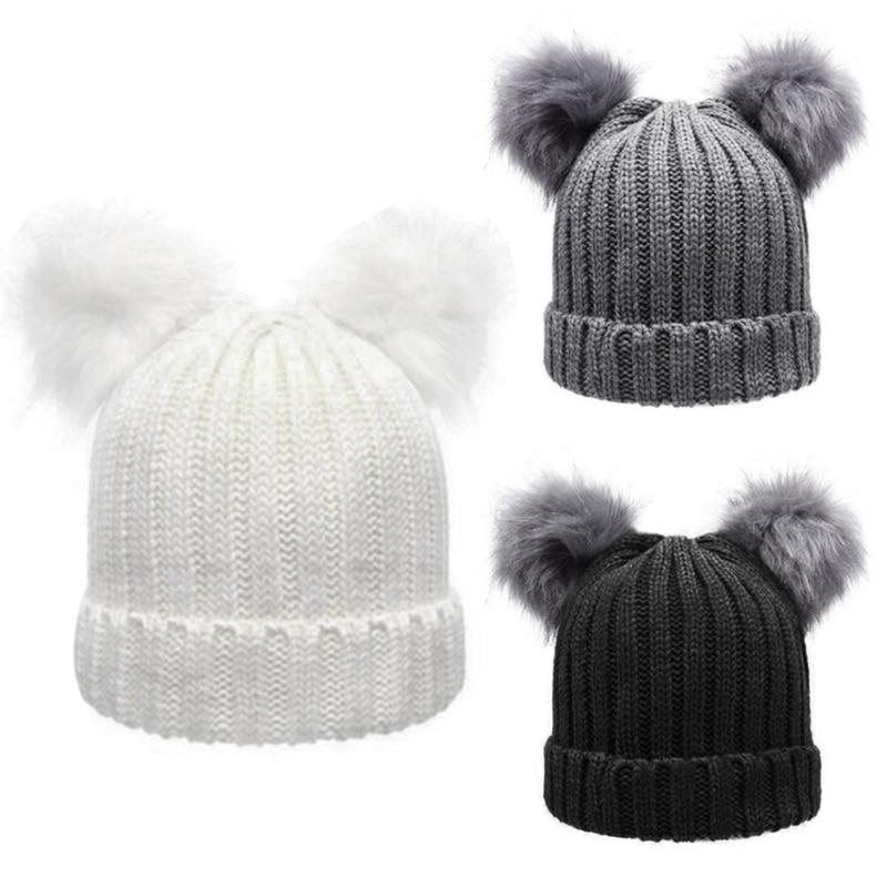 Women s Winter hat Chunky Knit Double Pom Pom Beanie Cap Faux Fur ... e04acb22ee08