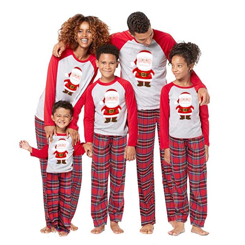 NEW Style 2 pieces Set XMAS Family Matching Christmas Pajamas Womens Mens Kids Sleepwear Nightwear