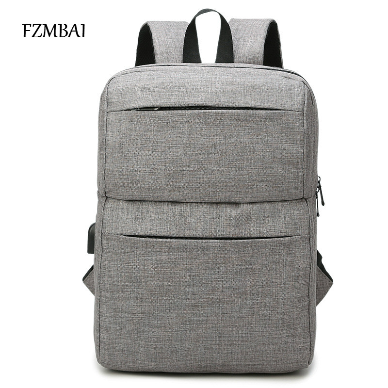 FZMBAI New Arrivals Men Backpack For 15 inches Laptop Backpack with USB <font><b>Charger</b></font> Vertical Large Capacity Casual Style Backpack