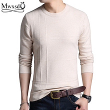 Gift Mwxsd Brand 2017 Men's round Sweaters Men Solid Long Sleeve Pullovers winter business Men Slim sweater Pullover