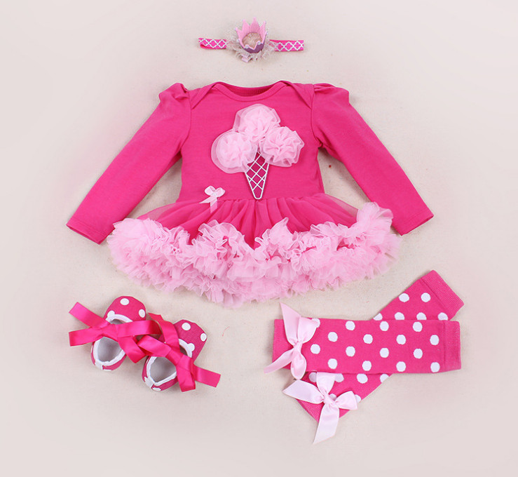 Baby Girl 4pcs Clothing Sets Infant Cotton Rompers Dresses+Dot Shoes+Headband+Leg Warmer Costumes Party Bebe Birthday Vestidos baby girl infant 3pcs clothing sets tutu romper dress jumpersuit one or two yrs old bebe party birthday suit costumes vestidos