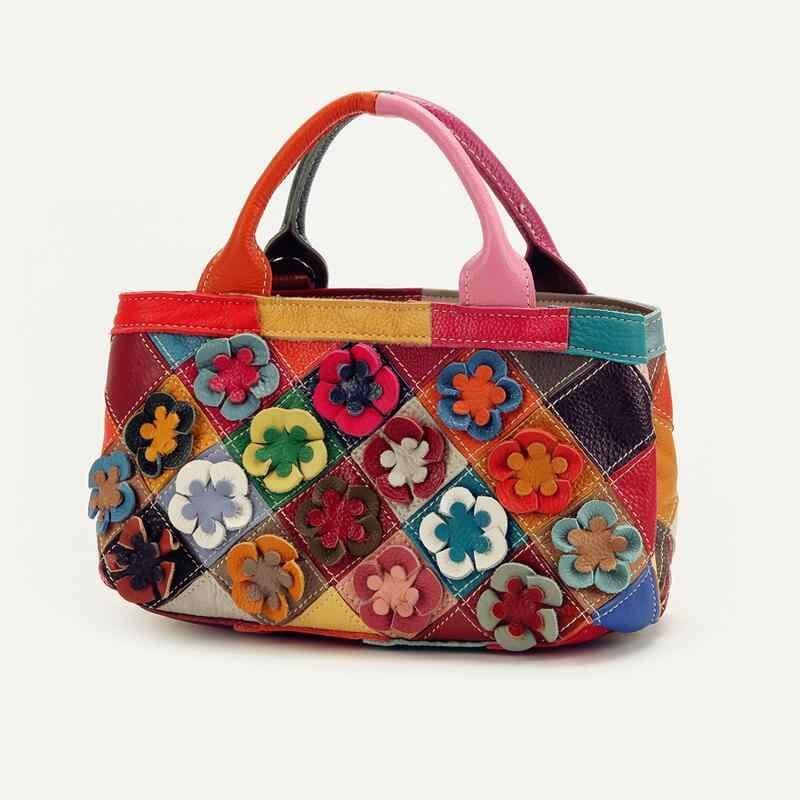 אביב קיץ סוכריות צבע גבירותיי בנות תיק קטן מזדמן נשים שקיות כתף טלאי פרחים צבעוניים תיקי Tote