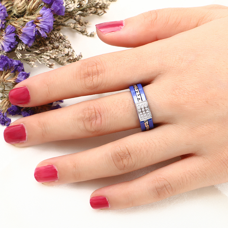Brand Design Wedding Rings Middle Layer Stainless Steel Adjustable Crown Rings Blue Ceramic Rings With Zircon for Wedding Gift