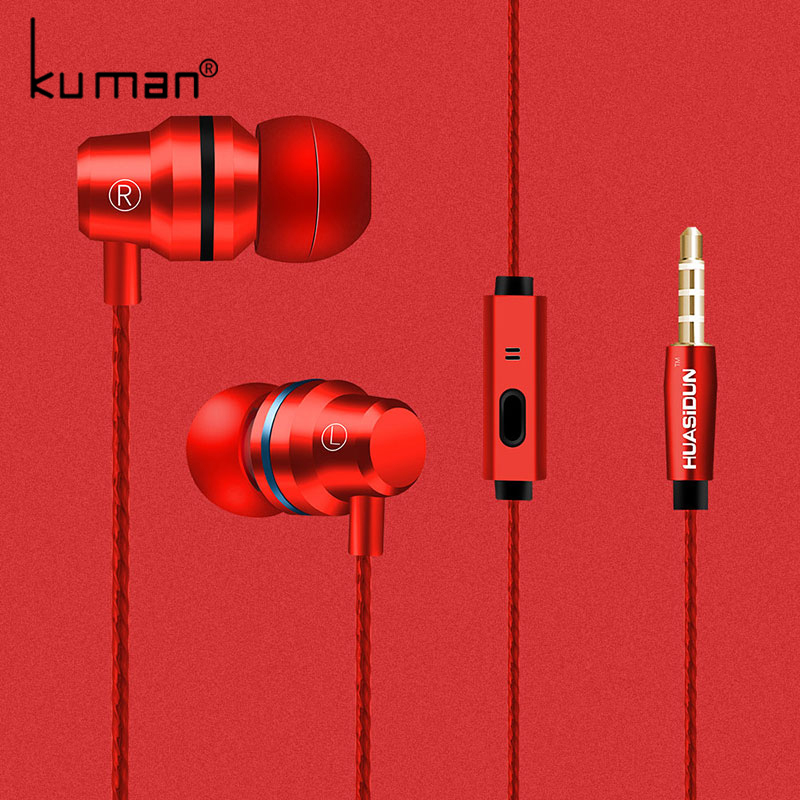 Kuman Headsets In Ear Sport Earphone with Microphone Super Bass Headset For iphone xiaomi huawei Phone PC Gaming YL-HW3