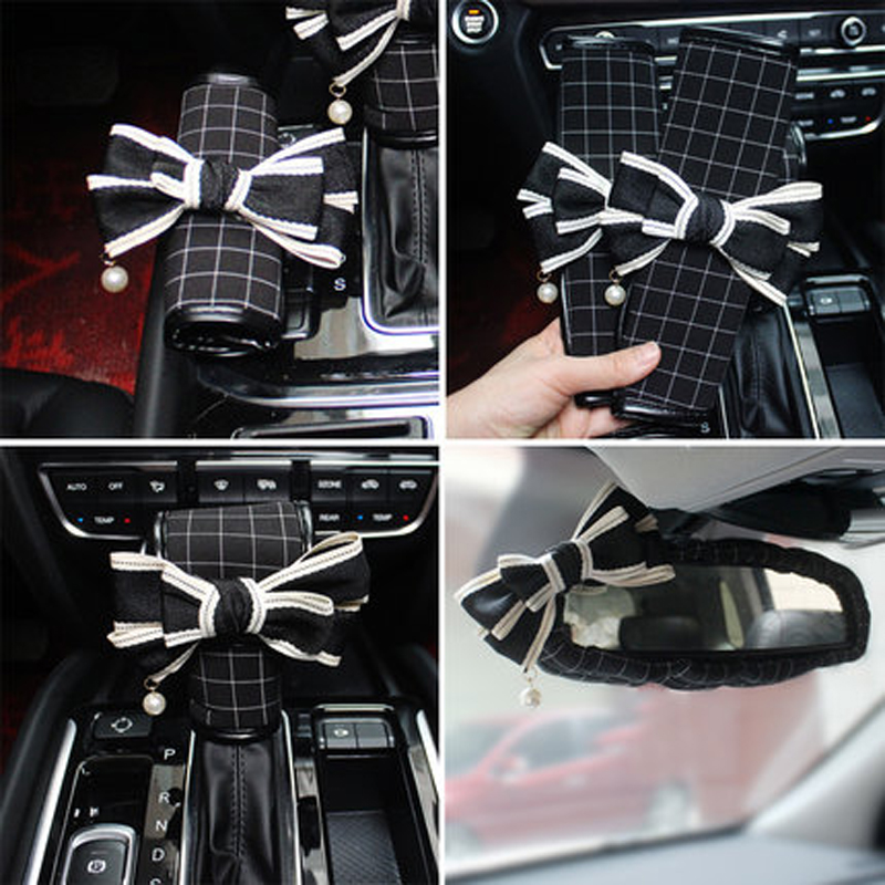 New Plaid Style Lady Car Interior Accessories For Women Girls Auto Steering Wheel Covers Seatblet Cover Shifter Hand Brake Sets