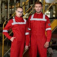 100% хлопок саржа Красный защитный комбинезон огнестойкий Рабочий Комбинезон для мужчин FR одежда со светоотражающими полосками