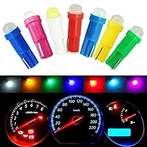 10pc T5 led Bulb COB SMD W1.2W Lamp Car Interior Dashboard Gauge Instrument DC 12V 6000K White Green Red Blue Yellow 3000K