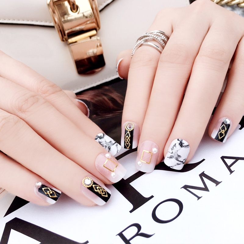 24 pieces set of fake nails French round head black and white classic fashion marble pattern boxed fake nail art tips in False Nails from Beauty Health