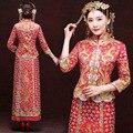 Vermelho Bordado Dragão Phoenix Longo Cheongsam Noiva Se Casar Com Vestido de Casamento Do Vintage Chinês SJJW DressTwo-peça Qipao Robe Chinoise
