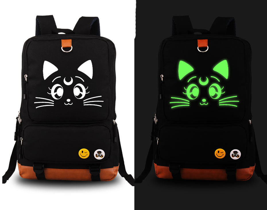 New Sailor Moon Luna Cosplay Backpack Anime Cute Cat Canvas Student Luminous Schoolbag Unisex Travel Bags anime resident evil cosplay backpack anime umbrella canvas bag luminous schoolbag travel bags