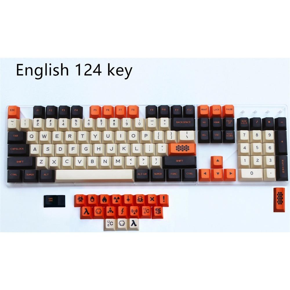 Version anglaise porte-clés sublimé par colorant grand carbone 124 bricolage Keycaps PBT Cherry hauteur originale Keycap pour clavier mécanique