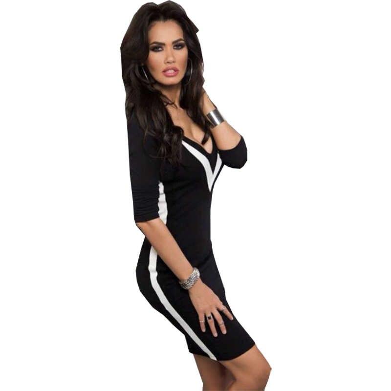 Americano europeo vestito delle donne di nuovo V-collare sexy vestido bianco e nero cuciture colore Sottile abiti vestidos abbigliamento LBD5599