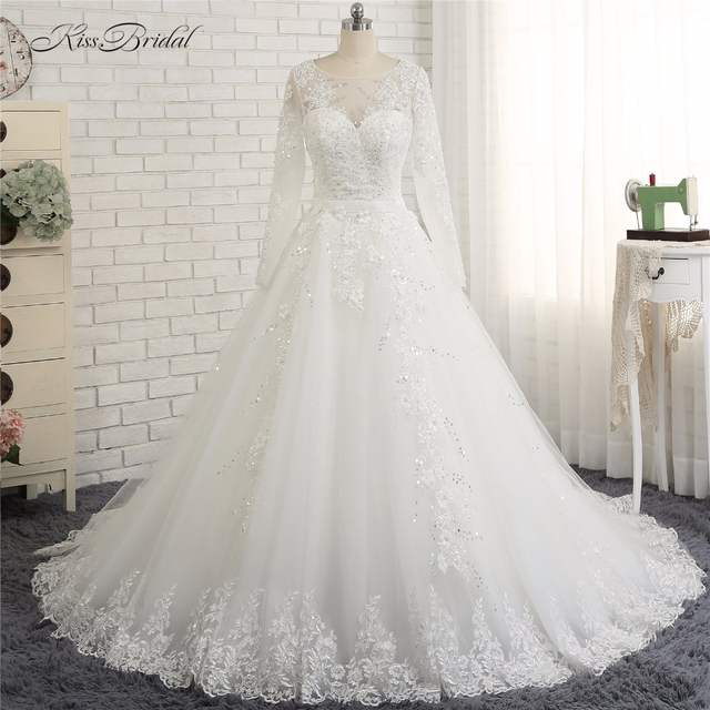 Us 3390 Vestido Casamento Civil 2018 Modest Long Sleeve High Neck Wedding Dresses A Line Style Corset Back Lace Bride Dress In Wedding Dresses From