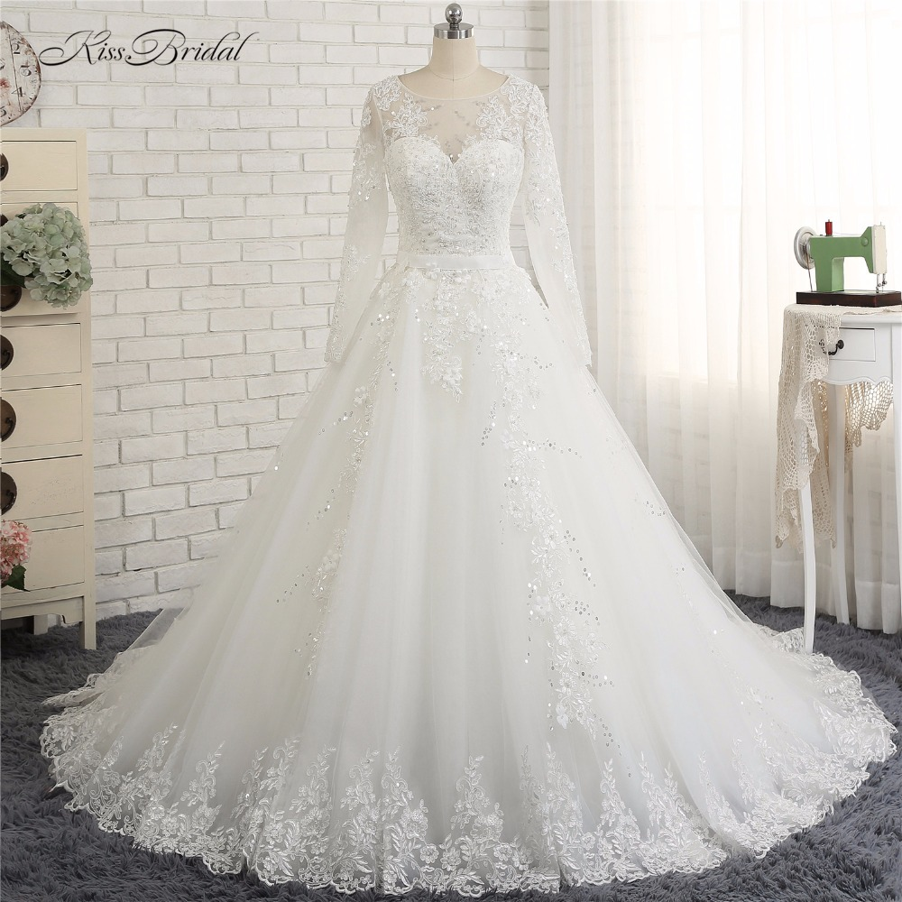 vestido casamento civil 2018 Modest Long Sleeve High Neck Wedding Dresses A-line Style Corset Back Lace Bride Dress