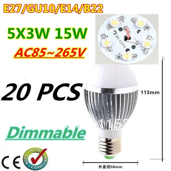 20pcs/lot Retail Dimmable Bubble Ball Bulb AC85-265V 15W E14 E27 B22 GU10 High power Globe light LED Light Free DHL and FEDEX