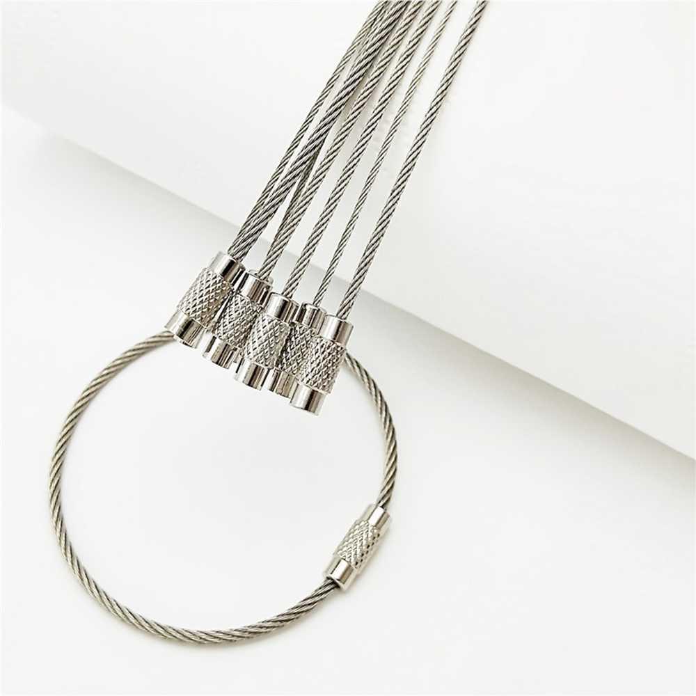 5/10/15 Pcs EDC Gantungan Kunci Stainless Steel Carabiner Gantungan Kunci Outdoor Alat Kawat Gantungan Kunci Tali Kabel Sekrup mengunci Gantungan Kunci