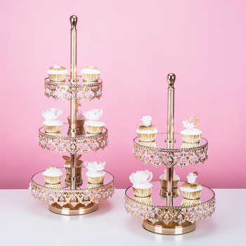 3 tiers golden cake stand party decoration wedding cake plate dessert tray