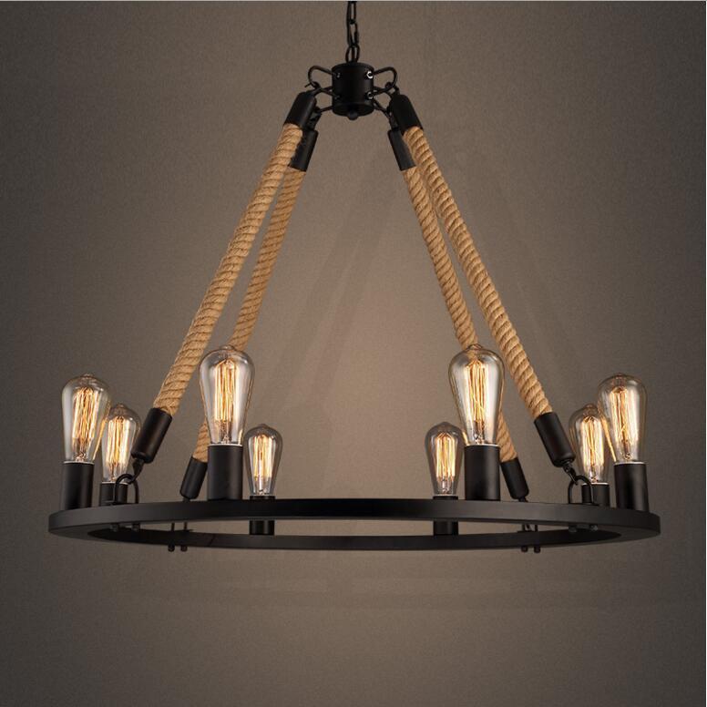 Retro Hemp Rope Chandelier Loft Style 6 8 Lights American