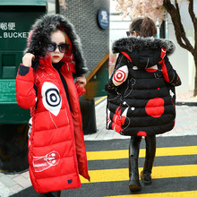 купить Girls Winter Jackets 2019 Children Winter Clothes Girl Coats Warm Fur Collar Hooded Long Cotton-Down Coats For Kids Outerwear дешево
