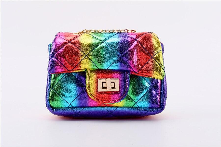 moda iridescente cor mini sacos para meninas
