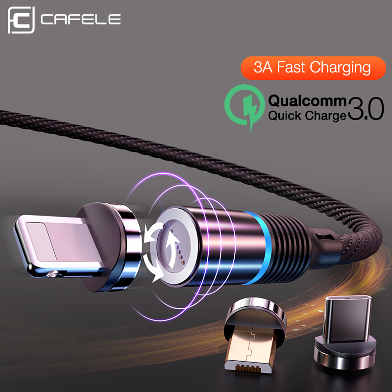Cafele Newest LED QC3.0 Magnetic USB Cable for iPhone Micro type C Braided cable Charger Samsung Xiaomi Huawei