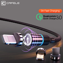 Cafele Newest LED QC3.0 Magnetic USB Cable for iPhone Micro USB Cable type C Braided cable Charger for Samsung Xiaomi Huawei(China)