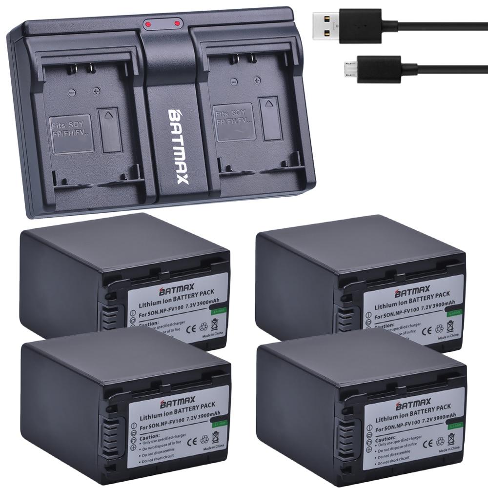 4Pcs 3900mAh NP-FV100 NP FV100 NPFV100 Li-ion Camera Batteries + USB Dual Charger for Sony NP-FV30 NP-FV50 NP-FV70 SX83E SX63E battery pack charger for sony np fv30 np fv30 np fv50 np fv50 np fv70 npfv70 np fv100 infolithium v series 1050mah