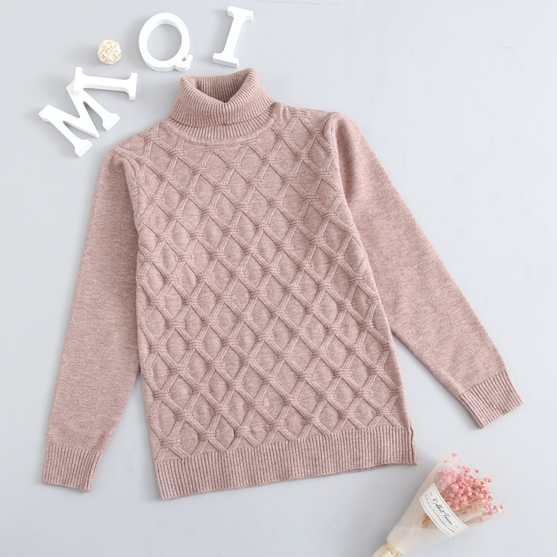 Image 2 - Winter Autumn 2T 7T Pure Color Winter Boy Girl Kid Thick Knitted Bottoming Turtleneck Shirts Solid High Collar Pullover Sweater-in Sweaters from Mother & Kids