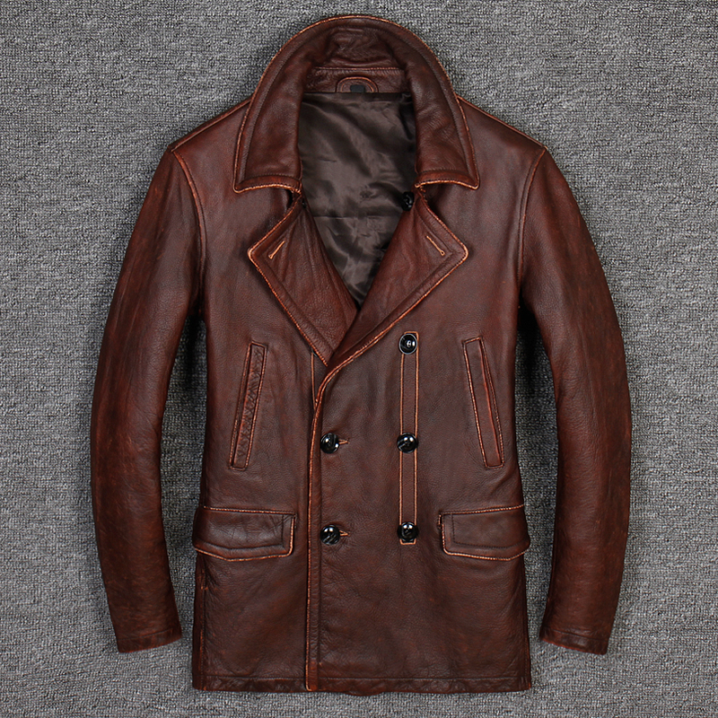 HARLEY DAMSON Vintage Brown Men Long Casual Leather Jacket Double Breasted Plus Size XXXL Genuine Cowhide Winter Russian Coat-in Genuine Leather Coats from Men's Clothing    2