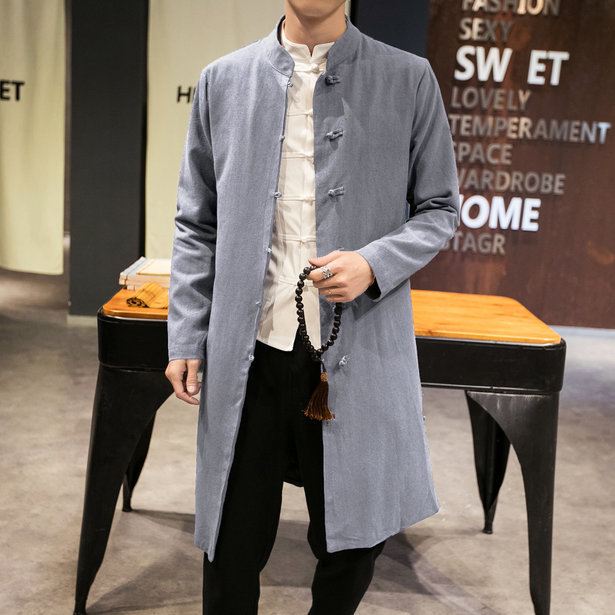 Tang Clothing Mid Long Trench Coat Men Slim Single Breasted O Neck Trenchs Spring Autumn Cotton Linen Fabric Retro Jacket Male