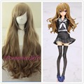 free shipping New wig Cosplay Dragon X Tiger/ Aisaka Taiga Long Pale Brown Curly Wig + Free wig cap