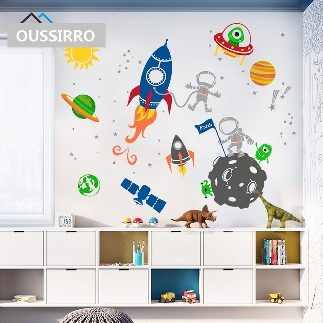 5451783574ee1 Children Early Education Space Solar System Wall Stickers Removable PVC  Stickers Home Decor For Bedroom Living Room Decorative
